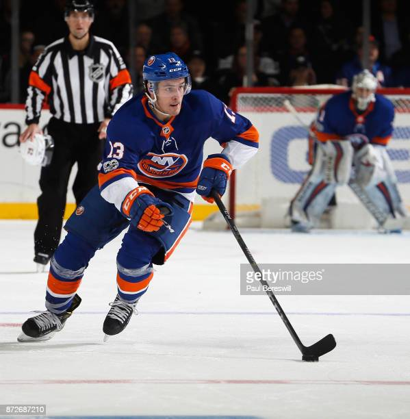 Mathew Barzal of the New York Islanders skates in an NHL hockey game against the Edmonton Oilers at Barclays Center on November 7 2017 in the...