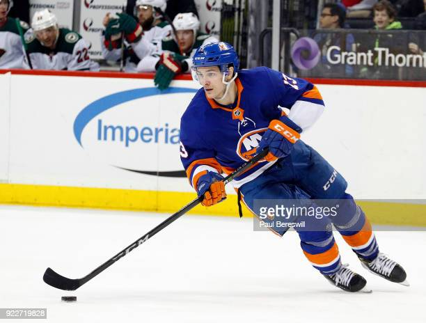 Mathew Barzal of the New York Islanders skates in an NHL hockey game against the Minnesota Wild at Barclays Center on February 19 2018 in the...