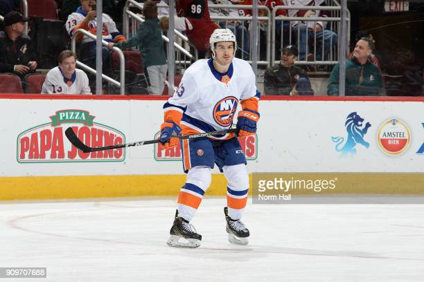 Mathew Barzal of the New York Islanders skates up ice against the Arizona Coyotes at Gila River Arena on January 22 2018 in Glendale Arizona