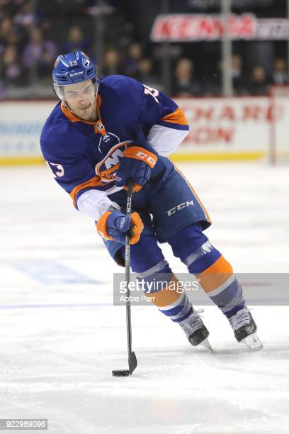 Mathew Barzal of the New York Islanders skates with the puck in the second period against the New York Rangers during their game at Barclays Center...