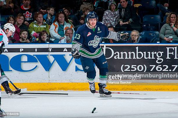 Mathew Barzal of the Seattle Thunderbirds breaks his stick on the ice against the Kelowna Rockets on February 8 2016 at Prospera Place in Kelowna...