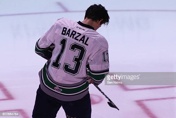 Mathew Barzal of the Seattle Thunderbirds skates prior to the opening faceoff against the Vancouver Giants during the first period of their WHL game...