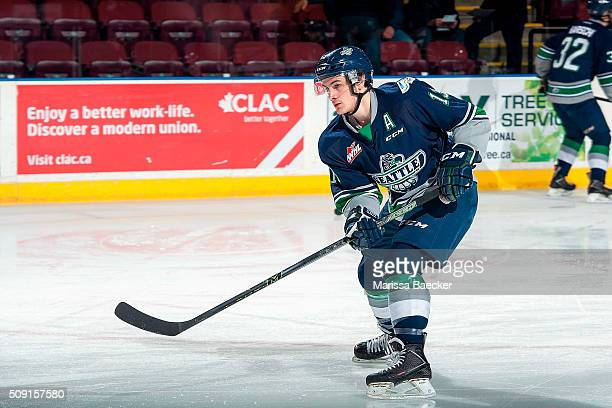 Mathew Barzal of the Seattle Thunderbirds warms up against the Kelowna Rockets on February 8 2016 at Prospera Place in Kelowna British Columbia Canada
