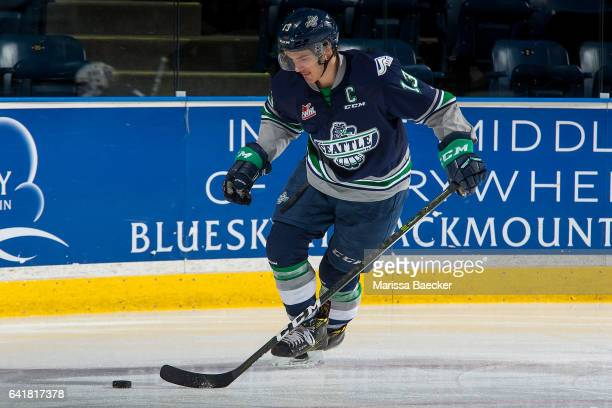 Mathew Barzal of the Seattle Thunderbirds warms up with the puck against the Kelowna Rockets on February 13 2017 at Prospera Place in Kelowna British...