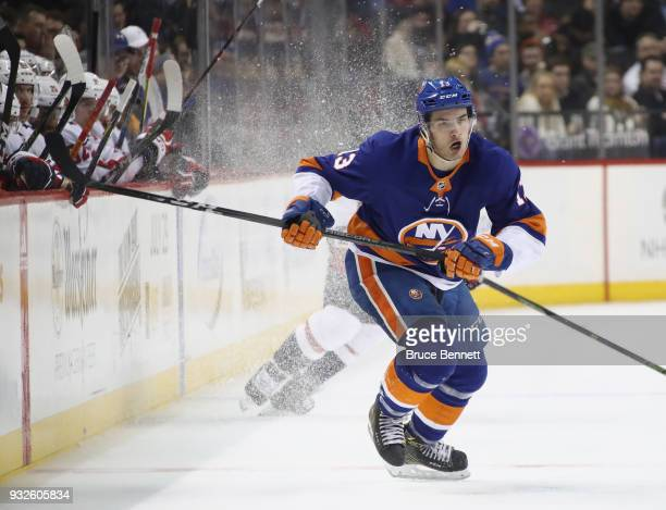 Mathew Barzal skates against the Washington Capitals at the Barclays Center on March 15 2018 in the Brooklyn borough of New York City The Capitals...