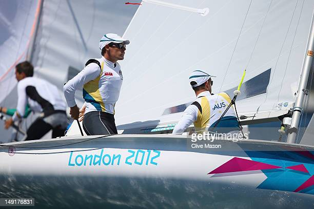 Mathew Belcher and Malcolm Page of Australia in action during a training race ahead of the London 2012 Olympic Games at the Weymouth and Portland...