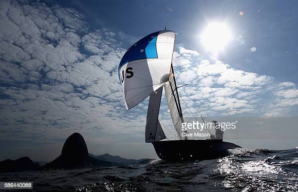 Mathew Belcher and Will Ryan of Australia in action on board their 470 class dinghy during training at Marina da Gloria on August 6 2016 in Rio de...