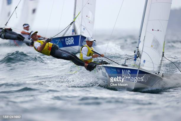 Mathew Belcher and Will Ryan of Team Australia compete in the Men's 470 class on day six of the Tokyo 2020 Olympic Games at Enoshima Yacht Harbour on...