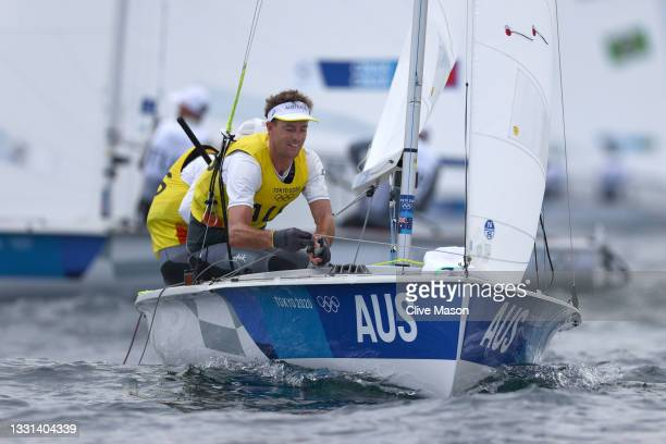 Mathew Belcher and Will Ryan of Team Australia compete in the Men's 470 class on day seven of the Tokyo 2020 Olympic Games at Enoshima Yacht Harbour...