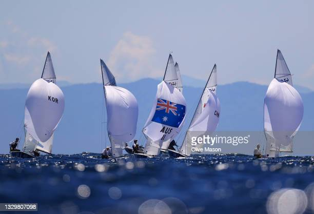 Mathew Belcher and Will Ryan of Team Australia Men's 470 class practice race ahead of the Tokyo 2020 Olympic Games at Enoshima Yacht Harbour on July...