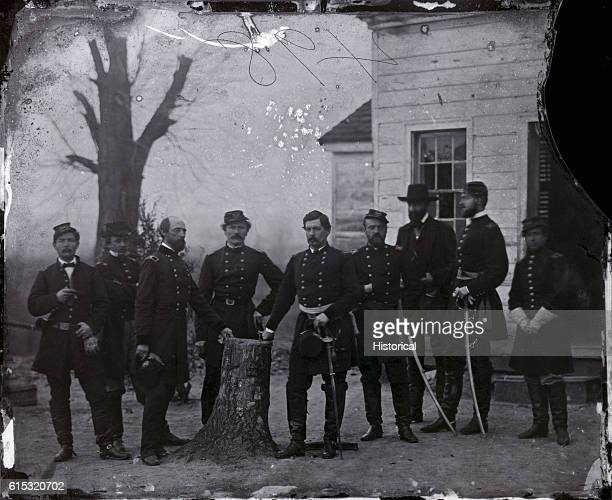 Mathew Brady portrait of George McClellan a Federal officer know for a time as the Young Napoleon and his staff of eight during the American Civil...