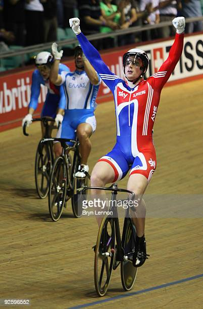 Mathew Crampton of Great Britain and Team GB celebrates winning the Men's International Keirin on day three of the UCI Track Cycling World Cup at the...