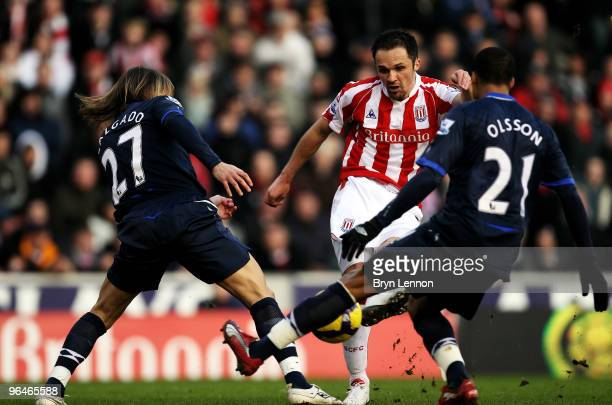Mathew Etherington of Stoke City scores during the Barclays Premier League match between Stoke City and Blackburn Rovers at Britannia Stadium on...