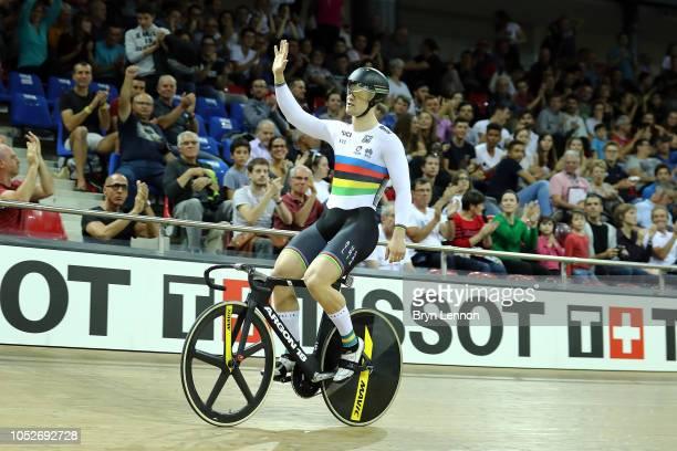 Mathew Glaetzer of Australia celebrates winning the Men's Sprint final at the Velodrome de SaintQuentinenYvelines on day three of the UCI Track...