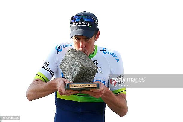 Mathew Hayman of Australia and OricaGreenEdge celebrates on the podium after winning the 2016 Paris Roubaix cycle race from Compiegne to Roubaix on...