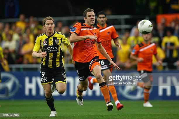 Mathew Jurman of the Roar covers the ball during the round 10 ALeague match between the Wellington Phoenix and the Brisbane Roar at Forsyth Barr...