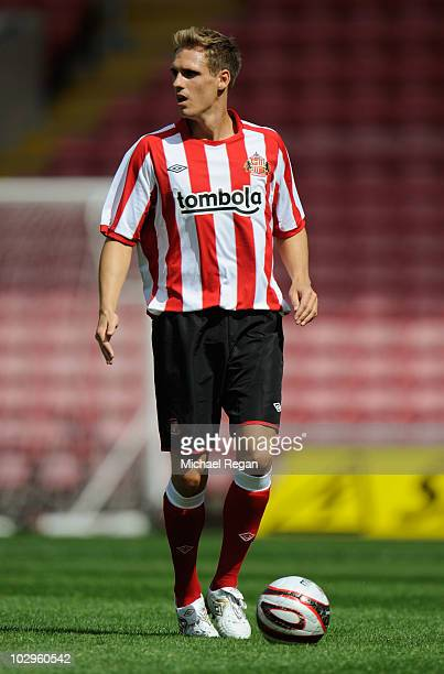 Mathew Kilgallon of Sunderland in action during the preseason friendly match between Darlington and Sunderland at the Northern Echo Arena on July 17...