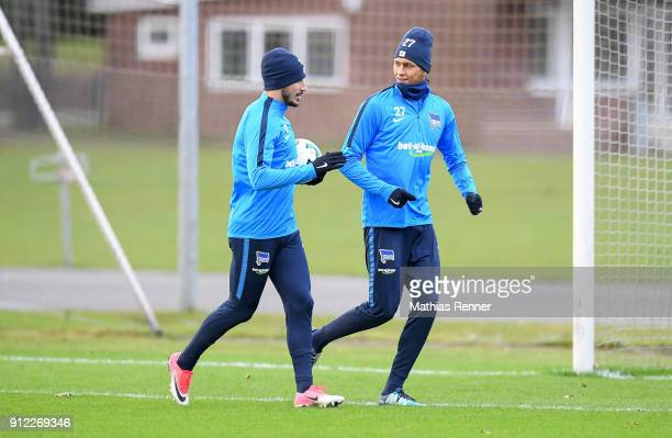 Mathew Leckie and Davie Selke of Hertha BSC during the training on January 30 2018 in Berlin Germany