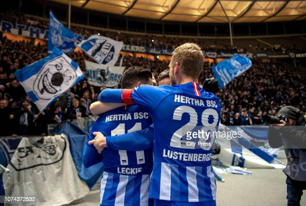 Mathew Leckie and Fabian Lustenberger of Hertha BSC celebrate after scoring the 21 during the Bundesliga match between Hertha BSC and FC Augsburg at...