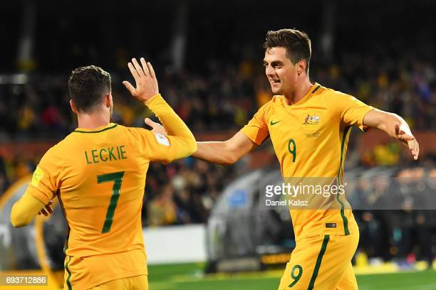 Mathew Leckie and Jackson Irvine of Australia celebrate during the 2018 FIFA World Cup Qualifier match between the Australian Socceroos and Saudi...
