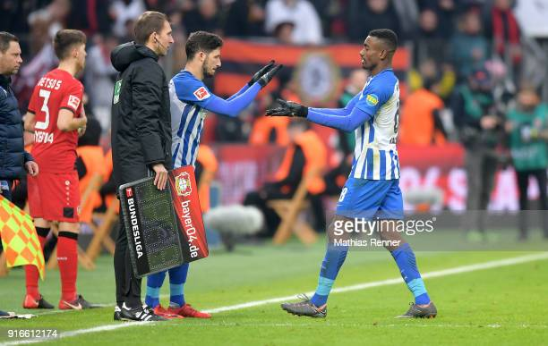 Mathew Leckie and Salomon Kalou of Hertha BSC during the first Bundeliga game between Bayer 04 Leverkusen and Hertha BSC at BayArena on February 10...