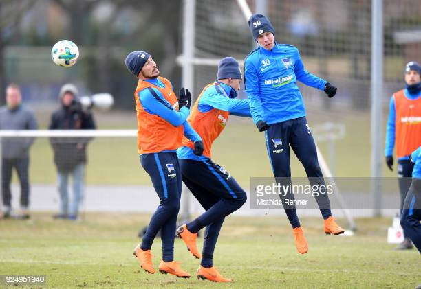 Mathew Leckie Davie Selke and Julius Kade of Hertha BSC during a training session at Schenkendorfplatz on February 27 2018 in Berlin Germany