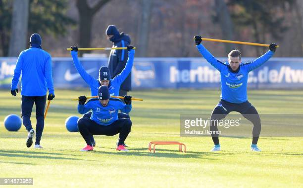 Mathew Leckie Fabian Lustenberger and Peter Pekarik of Hertha BSC during the training session at the Schenkendorfplatz on february 6 2018 in Berlin...