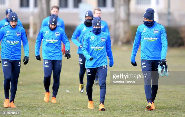 Mathew Leckie Marvin Plattenhardt Mitchell Weiser and Davie Selke of Hertha BSC during a training session at Schenkendorfplatz on February 27 2018 in...