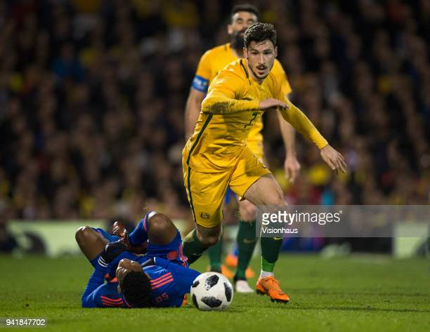 Mathew Leckie of Australia and Wilmar Barrios of Colombia in action during the International Friendly match between Australia and Colombia at Craven...