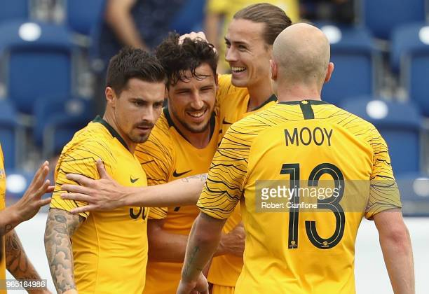 Mathew Leckie of Australia celebrates after scoring his second goal during the International Friendly match between the Czech Republic and Australia...