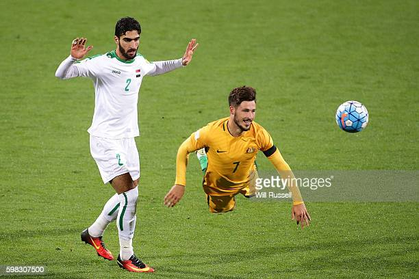 Mathew Leckie of Australia heads the ball during the 2018 FIFA World Cup Qualifier match between the Australian Socceroos and Iraq at nib Stadium on...