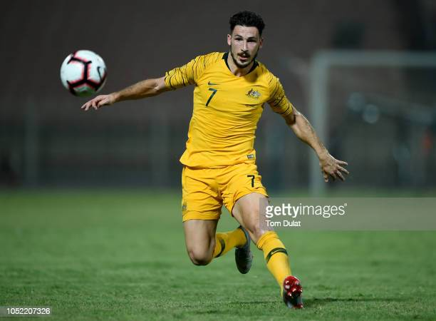 Mathew Leckie of Australia in action during the International Friendly match between Kuwait and Australia at Al Kuwait Sports Club Stadium on October...