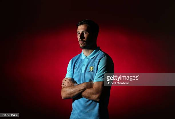 Mathew Leckie of Australia poses during an Australia Socceroos media opportunity on October 4 2017 in Malacca Malaysia