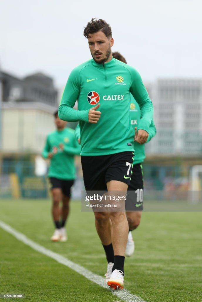 Mathew Leckie of Australia warms up during an Australia Socceroos training session ahead of the FIFA World Cup 2018at Stadium Trudovye Rezervy on June 13, 2018 in Kazan, Russia.