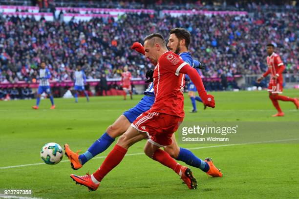 Mathew Leckie of Berlin and Franck Ribery of Bayern Muenchen compete for the ball during the Bundesliga match between FC Bayern Muenchen and Hertha...
