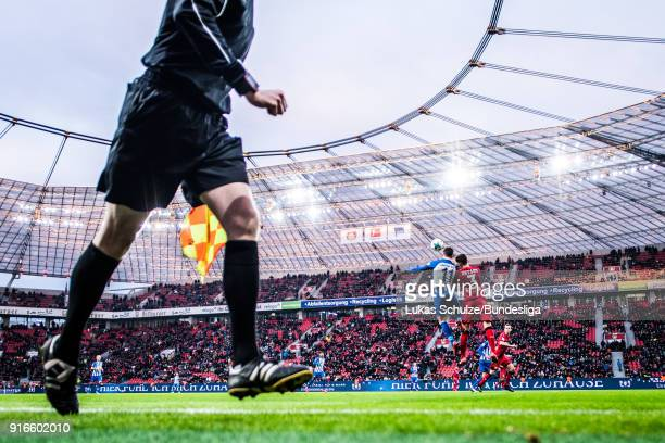 Mathew Leckie of Berlin and Panagiotis Retsos of Leverkusen head the ball during the Bundesliga match between Bayer 04 Leverkusen and Hertha BSC at...