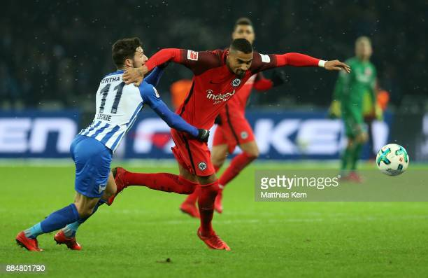 Mathew Leckie of Berlin battles for the ball with Kevin Prince Boateng of Frankfurt during the Bundesliga match between Hertha BSC and Eintracht...