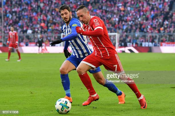 Mathew Leckie of Berlin fights for the ball with Franck Ribery of Bayern Muenchen during the Bundesliga match between FC Bayern Muenchen and Hertha...