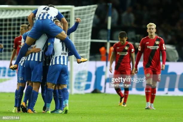 Mathew Leckie of Berlin jubilates with team mates after scoring the first goal during the Bundesliga match between Hertha BSC and Bayer 04 Leverkusen...