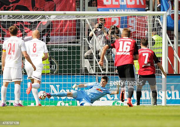 Mathew Leckie of FC Ingolstadt scores rom the penalty spot during the 2. Bundesliga match between FC Ingolstadt and RB Leipzig at Audi Sportpark on...
