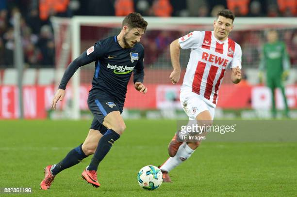 Mathew Leckie of Hertha BSC Berlin and Milos Jojic of Koeln battle for the ball during the Bundesliga match between 1 FC Koeln and Hertha BSC at...