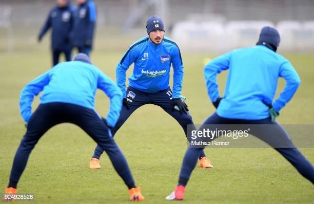 Mathew Leckie of Hertha BSC during a training session at Schenkendorfplatz on February 27 2018 in Berlin Germany