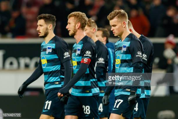 Mathew Leckie of Hertha BSC Fabian Lustenberger of Hertha BSC Maximilian Mittelstaedt of Hertha BSC looks dejected during the Bundesliga match...