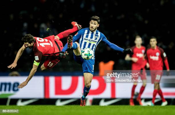Mathew Leckie of Hertha BSC in action with David Angel Abraham of Eintracht Frankfurt during the Bundesliga match between Hertha BSC and Eintracht...