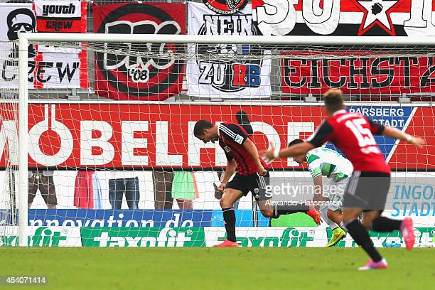 Mathew Leckie of Ingolstadt celebrates scoring the opening goal during the Second Bundesliga match between FC Ingolstadt and Greuther Fuerth at Audi...