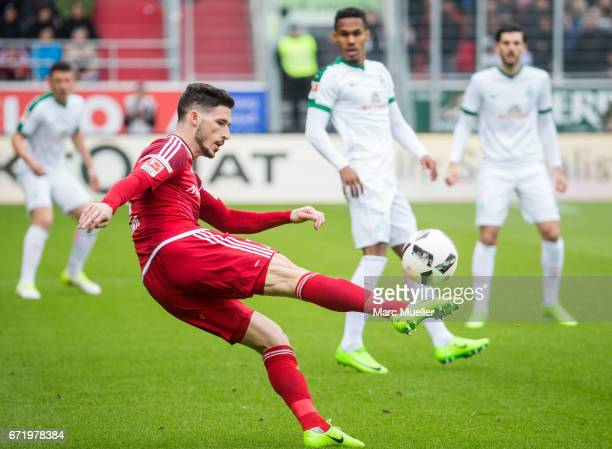 Mathew Leckie of Ingolstadt with ball during the Bundesliga match between FC Ingolstadt 04 and Werder Bremen at Audi Sportpark on April 22 2017 in...