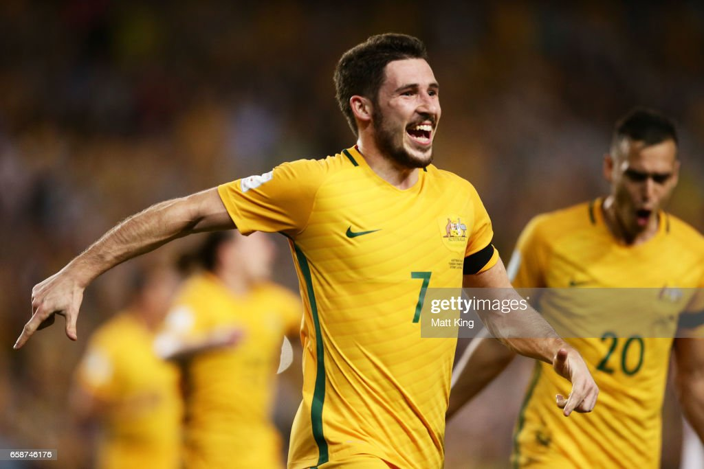 Mathew Leckie of the Socceroos celebrates scoring the second goal during the 2018 FIFA World Cup Qualifier match between the Australian Socceroos and United Arab Emirates at Allianz Stadium on March 28, 2017 in Sydney, Australia.