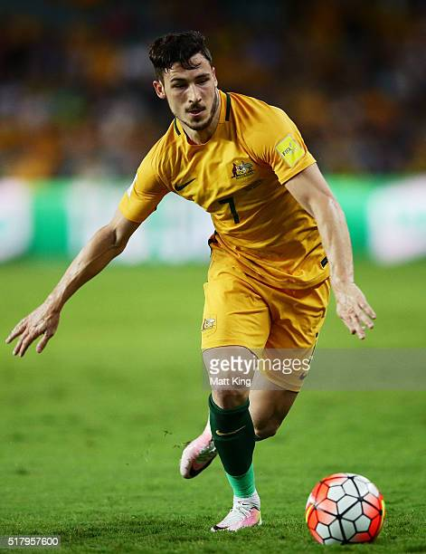 Mathew Leckie of the Socceroos controls the ball during the 2018 FIFA World Cup Qualification match between the Australian Socceroos and Jordan at...