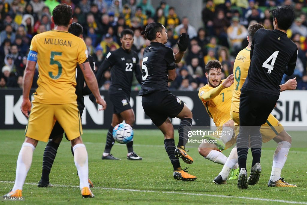 Mathew Leckie of the Socceroos kicks the ball for a goal during the 2018 FIFA World Cup Qualifier match between the Australian Socceroos and Thailand at AAMI Park on September 5, 2017 in Melbourne, Australia.