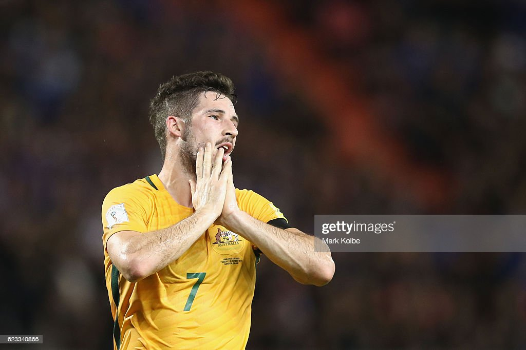 Mathew Leckie of the Socceroos shows his frustration after a missed chance during the 2018 FIFA World Cup Qualifier match between Thailand and the Australia Socceroos at Rajamangala National Stadium on November 15, 2016 in Bangkok, Thailand.